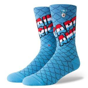 🆕 Stance Marvel Captain America Crew Socks Blue